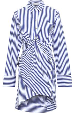MARQUES' ALMEIDA Twist-front cutout striped cotton-poplin mini shirt dress