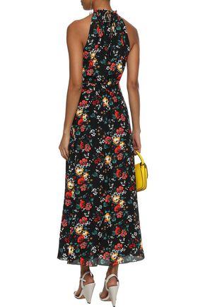 DEREK LAM Floral-print washed-silk halterneck maxi dress