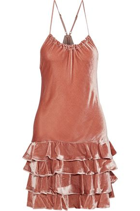 MARISSA WEBB Everleigh tiered velvet halterneck mini dress