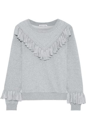 REBECCA MINKOFF Tasseled cotton-blend fleece sweatshirt