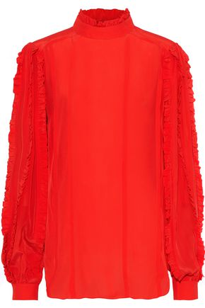 PREEN LINE Ophelia ruffle-trimmed crepe de chine blouse