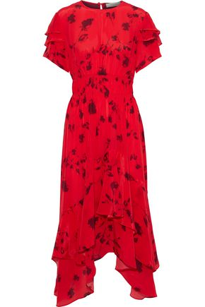 PREEN LINE Esther ruffled printed crepe de chine midi dress
