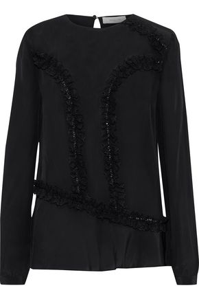 PREEN LINE Lara ruffled lace-trimmed crepe de chine blouse