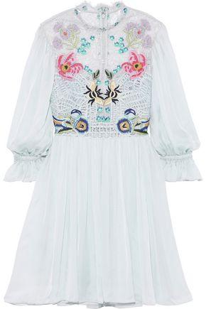 TEMPERLEY LONDON Aura embroidered lace and silk-blend chiffon mini dress