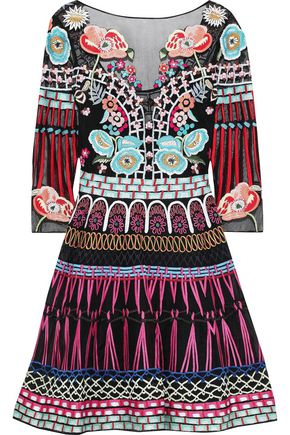 TEMPERLEY LONDON Aura embroidered tulle and silk-blend organza mini dress