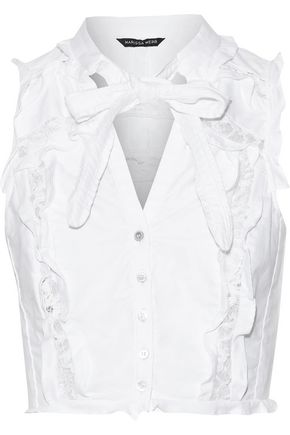 MARISSA WEBB Callan Dickie corded lace-trimmed ruffled cotton-canvas top
