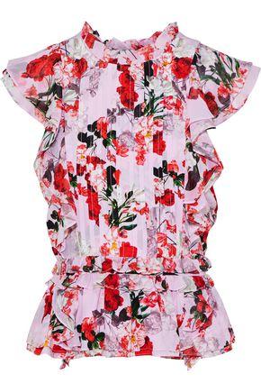 MARISSA WEBB Florence pintucked floral-print silk-georgette top