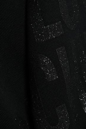 LOVE MOSCHINO Glittered printed French cotton-terry sweatshirt