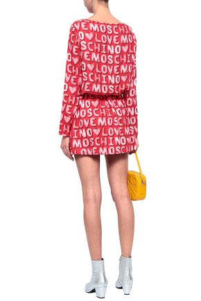 LOVE MOSCHINO Gathered printed twill mini dress