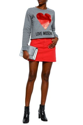 LOVE MOSCHINO Printed stretch-cotton sweatshirt