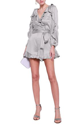 ZIMMERMANN Wrap-effect ruffled washed-silk playsuit