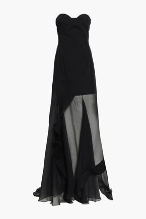 ESTEBAN CORTAZAR Asymmetric paneled faille and georgette gown