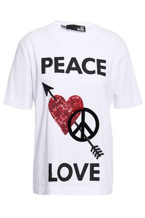 LOVE MOSCHINO Embellished printed stretch-cotton T-shirt