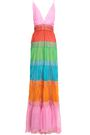 VALENTINO Lace-trimmed color-block silk-chiffon gown