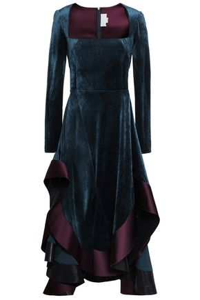 ESTEBAN CORTAZAR Asymmetric satin-trimmed crushed-velvet dress