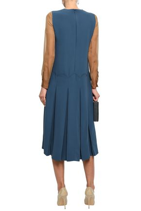 VALENTINO Organza-paneled silk-crepe midi dress