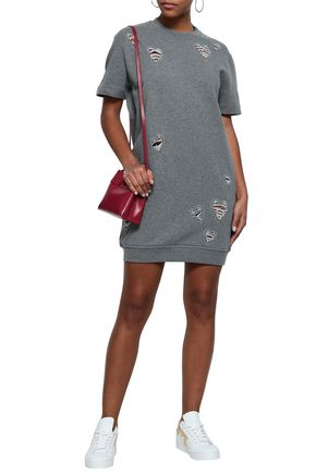 LOVE MOSCHINO Distressed embroidered French cotton-terry mini dress