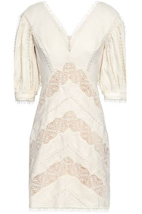 ZIMMERMANN Guipure lace-trimmed gathered linen mini dress