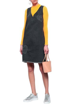 LOVE MOSCHINO Embroidered denim mini dress