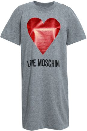 LOVE MOSCHINO Mélange printed stretch-cotton jersey mini dress