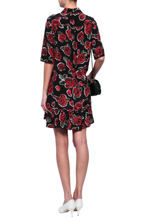 LOVE MOSCHINO Floral-print woven mini shirt dress
