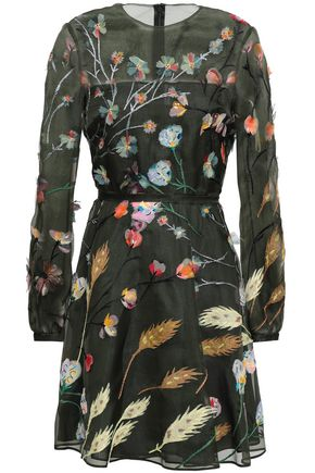 VALENTINO Silk-organza fil coupé mini dress