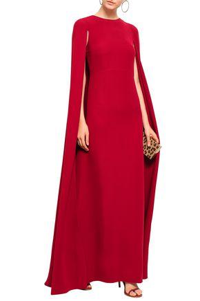 VALENTINO Cape-effect silk-crepe gown