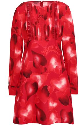VALENTINO Lace-trimmed printed silk crepe de chine mini dress