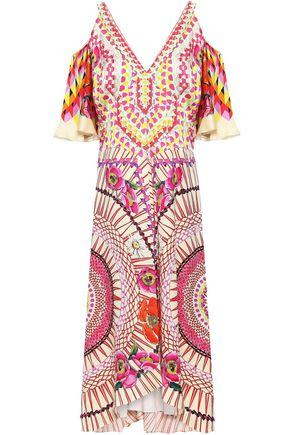 TEMPERLEY LONDON Cold-shoulder printed hammered silk-satin midi dress