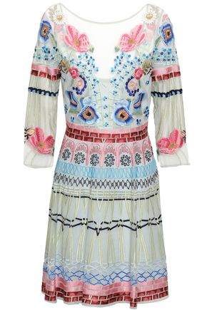 TEMPERLEY LONDON Embroidered silk-blend tulle mini dress