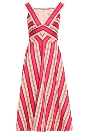 TEMPERLEY LONDON Metallic striped cotton-blend midi dress