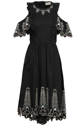 TEMPERLEY LONDON Amour cold-shoulder broderie anglaise cotton-poplin midi dress