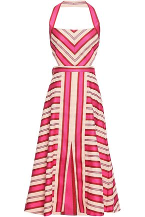TEMPERLEY LONDON Metallic striped cotton-blend halterneck dress