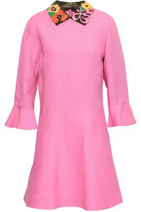 VALENTINO Embellished wool and silk-blend cady mini dress