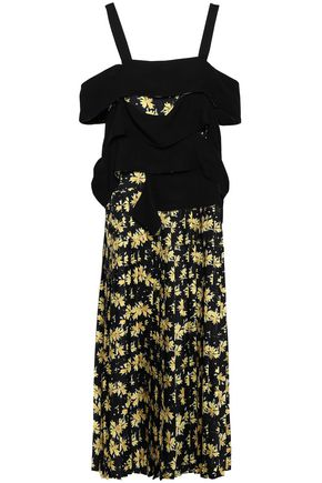 DEREK LAM Cold-shoulder floral-print silk-twill and crepe midi dress