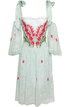 TEMPERLEY LONDON Potion cold-shoulder embroidered Chantilly lace dress