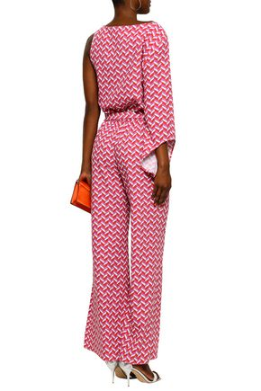RAOUL One-shoulder belted printed stretch-crepe jumpsuit