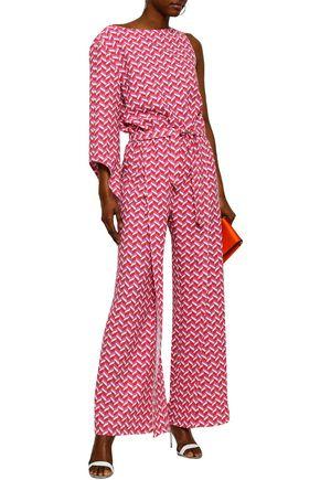 1ec022ed23c5 RAOUL One-shoulder belted printed stretch-crepe jumpsuit