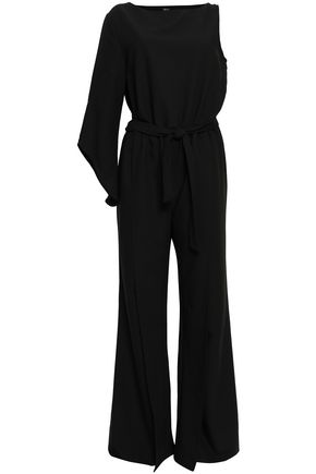 One Shoulder Belted Stretch Crepe Jumpsuit by Raoul