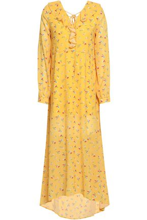 RAOUL Ruffle-trimmed floral-print crepe de chine midi dress