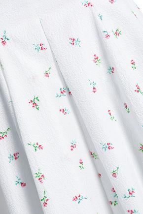 EMILIA WICKSTEAD Merica pleated floral-print cloqué midi skirt