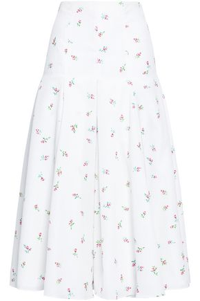 EMILIA WICKSTEAD Merica pleated floral-print cloqué midi skirt