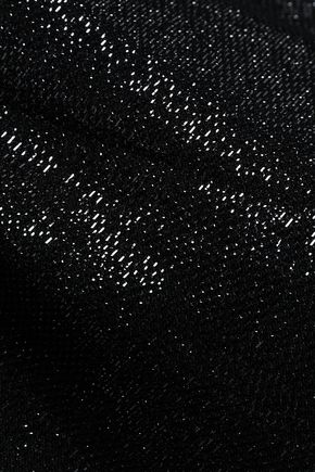 LOVE MOSCHINO Metallic crochet-knit maxi dress