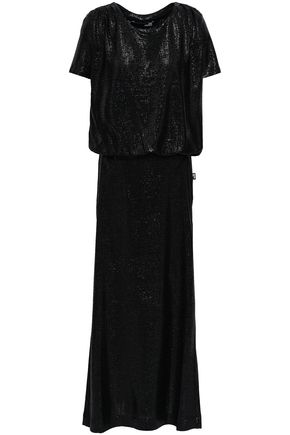 LOVE MOSCHINO Metallic crochet-knit maxi dress