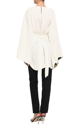 DEREK LAM Belted cutout silk crepe de chine blouse