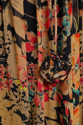 LOVE SAM Shirred floral-print georgette maxi dress