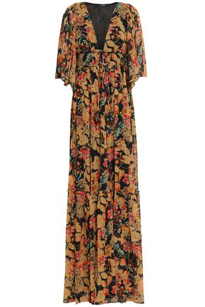LOVE SAM Shirred floral-print georgette maxi dress
