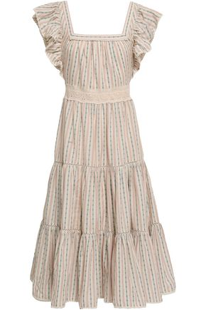LOVE SAM Crochet-trimmed ruffled cotton-jacquard midi dress
