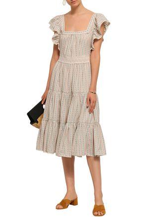 LOVE SAM Crochet-trimmed ruffled cotton-jacquard midi dress