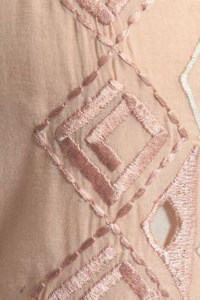 LOVE SAM Lattice-trimmed embroidered cotton-gauze midi dress
